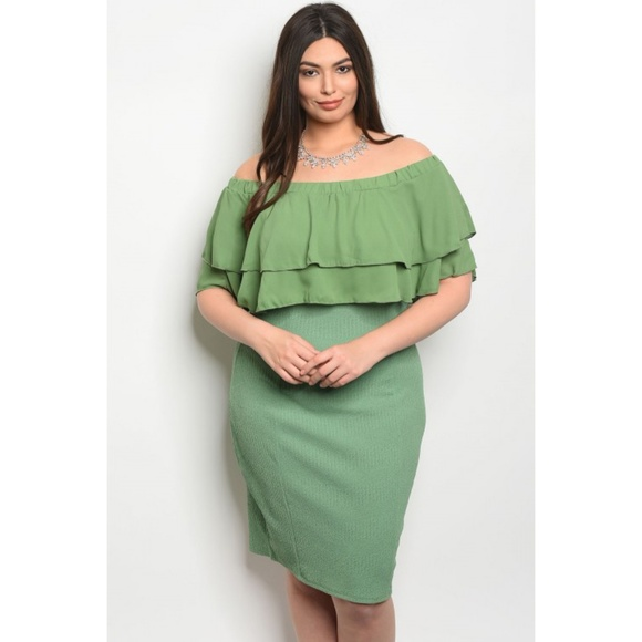 Plus Size Green Ruffled Off Shoulder Dress Boutique